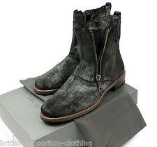 JOHN VARVATOS HANDMADE negro botas de doble cremallera Pony Cabello UK8 US9 EU42 Nuevo Y En Caja