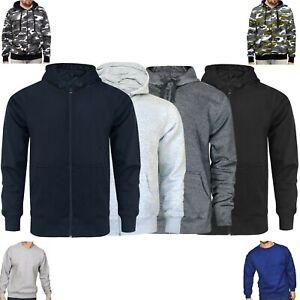Mens Zip Up Jackets Hoodies Hooded Sweatshirt Fleece Plain Hoody Jumper Pullover
