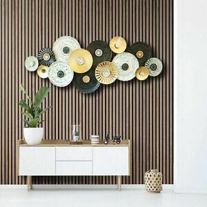 160cm Huge Metal Wall Art LUX Plates GLD/BLK/WHT Wall Decor