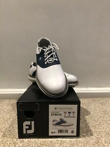 Footjoy Traditions Golf Shoe - 2021 - Navy/white Size 8. Free P&P