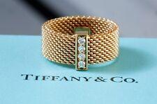 Tiffany 18k Gold Somerset Diamond Ring Eternity Wedding Band Sz4 Or 5.5