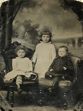 Tintype 3 Cute Children Countryside Lake Scene Painted Backdrop