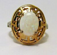 100% Genuine Vintage 9ct Solid Yellow Gold 2.94cts White Opal Ring Sz.7 US