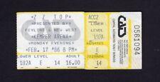 Original 1986 Zz Top Jimmy Barnes concert ticket stub Kansas City Mo Afterburner