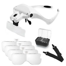 5 Lens 2 LED Headband Magnifying Glass Hand Free Glasses Magnifier Loupe