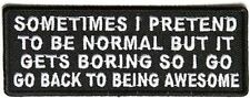 Sometimes I Pretend to Be Normal Funny Motorcycle MC Biker Vest Patch PAT-3833