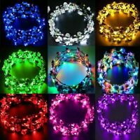 Wedding Party Crown Flower Headband LED Light Up Hair Hairband Garlands Gift