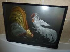 More details for framed 49 by 36cm textile & applique cut art 2 fighting cockerels picture -divau