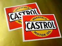 CASTROL WAKEFIELD Motor Oil Classic Vintage Car Stickers Decals 105mm 2 off