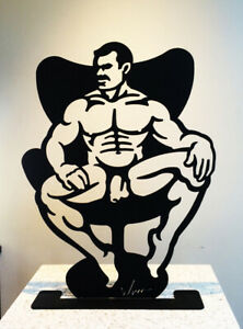 DADS CHAIR 20 inches Male nude steel sculpture