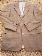 Men's John Ashford Blazer Jacket Sport Coat Size 40R Brown Wool Camel Hair Check