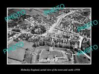 OLD LARGE HISTORIC PHOTO OF HELMSLEY ENGLAND, VIEW OF THE TOWN & CASTLE c1950