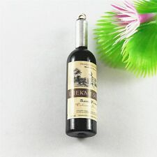 Silver&Black Alloy Wine Bottle Shaped Charms Pendants Crafts Findings 19x 51706