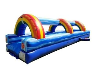 30' Blue Marble Commercial Kids and Adult Inflatable Slip and Slide With Blower