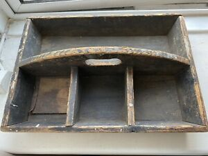 VINTAGE WOODEN TOOL BOX - OLD TOOL TRAY WITH HANDLE - OLD SECTIONS WOODEN TRAY