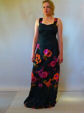 Vintage retro true 60s unused 14 L black cotton maxi summer dress pink floral
