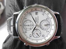 EXCELLENT SS WHITE DIAL SEIKO ALARM 7T32 QUARTZ CHRONOGRAPH WATCH FOR MEN