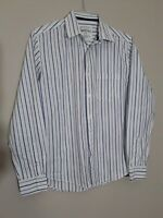 Aeropostale Mens Shirt size Small Long Sleeve Button Down White Blue Stripe