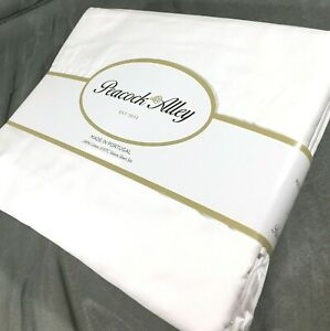 White QUEEN 4PC Sheet Set 100% Cotton Sateen Peacock Alley 310TC New