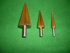 Stufenbohrer Set  3-tlg. Satz 4-32 mm  HSS-TITAN  Metallbohrer  TiN Kegelbohrer