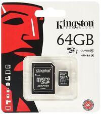 Kingston Micro SD SDHC 64GB memory Card Class 10 with SD Adaptor