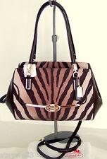 COACH Madison Zebra Print w/Leather Trim Satchel +Dust Bag NWT $278+Tax