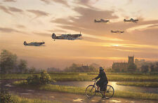 William Phillips ON WINGS & A PRAYER gilcee canvas, Spitfire MK II, #28/125