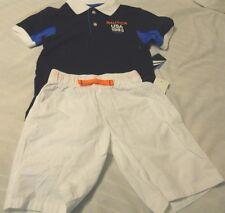 Nautica 2-Piece Boys Short Set Medium 5/6 Blue White Navy Outfit