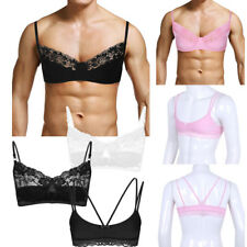 Men Sexy Sissy Male Training Bra Smooth Satin Lingerie Bralette Lace Ladyboy Top