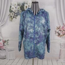 ADIDAS Originals Blue Purple Windbreaker Floral Print Graphic Jacket Size M