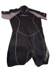 New listing NeoSport Black Wetsuit Women's 2mm Neoprene Shorty Lavender Trim Sz 12