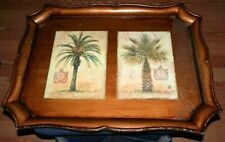 """VINTAGE ORNATE TRAY PALM TREES PATTERN MADE IN ITALY 17 1/2""""X14"""""""