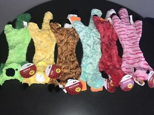 LOT 6 NEW Master Paws Stuffing Free Dog Toy 2 Squeakers SQUIRREL RACCOON DUCK