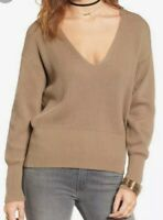 Free People Size S Allure Pullover Chunky Ribbed Knit V-Neck Sweater In Beige