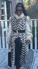 Rare Designer Full Length  white Sable /brown hue Blue fox Fur Coat Jacket S 0-8