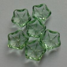 6 Glass Flower Beads Green. 10 mm. Jewellery Making/Embellishments/Sewing