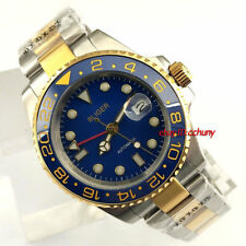 Bliger 40mm Sapphire glass Blue Dial red GMT hands Automatic mens watch 2426