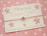 Will You Be My Flower Girl? Flower Bead Charm Wish Bracelet Gift & Envelope