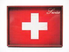 Suisse Swisse Drapeau Souvenir Deluxe Bois Aimant 8,5 cm Neuf