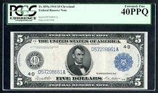 "FR859a $5 1914 FRN ""CLEVELAND"" WHITE / MELLON PCGS 40 PPQ XF BU3495"