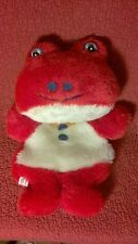 "Vintage 14"" Eisho Co. ISOGO YOKOHAMA FROG PAJAMA BAG? red plush stuffed JAPAN"