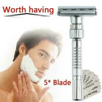 Mens Adjustable Razors Double Edge Shaving Safety Razor Shaver + 5X Blades R6B9