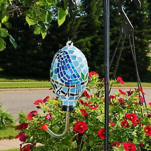 """Sunnydaze Outdoor Hanging Hummingbird Feeder Outdoor Mosaic Glass Bluebird - 6"""""""