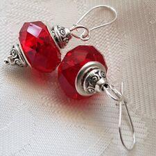 925 Argento Sterling Ganci di sicurezza RENE ganci a goccia in vetro Murano Perline Rosso Gratis P