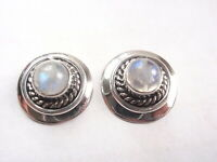 Blue Moonstone Rope Style Accented 925 Sterling Silver Stud Earrings