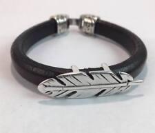 Handmade Men's Feather bracelet Men's Leather Bracelet Mens jewelry gift for him