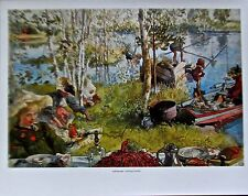 Carl Larsson Poster Catching Crayfish  Offset Lithograph Unsigned 14x11