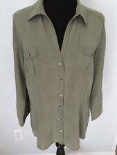 ESCADA SPORT US L EU 44 100% Silk Blouse Button Front Shirt V Neck Olive Green