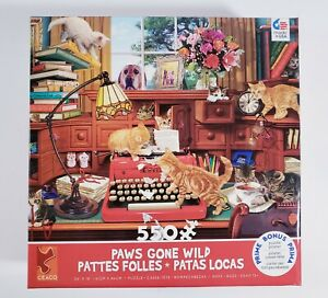 Ceaco Paws Gone Wild: PATTES FOLLES 550 pcs Puzzle Kitty Cat - BRAND NEW SEALED