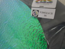 """Dichroic Glass: CBS 90COE Aqua on Rippled Textured Clear 3"""" Sq"""